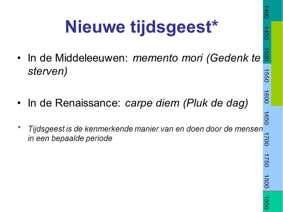 Nieuwe tijdsgeest* In de Middeleeuwen: memento mori (Gedenk te sterven) In de Renaissance: carpe diem (Pluk de dag) *Tijdsgeest is de kenmerkende mani