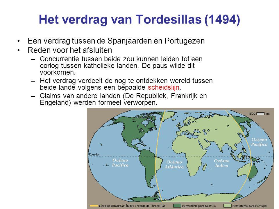 Het verdrag van Tordesillas (1494) Een verdrag tussen de Spanjaarden en Portugezen Reden voor het afsluiten –Concurrentie tussen beide zou kunnen leiden tot een oorlog tussen katholieke landen.