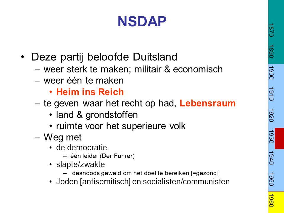 NSDAP Deze partij beloofde Duitsland –weer sterk te maken; militair & economisch –weer één te maken Heim ins Reich –te geven waar het recht op had, Le