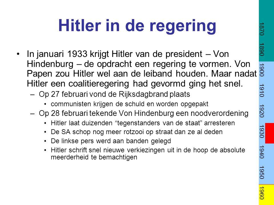 Hitler aan de macht De verkiezingen van maart (zie) leverden geen absolute meerderheid op.