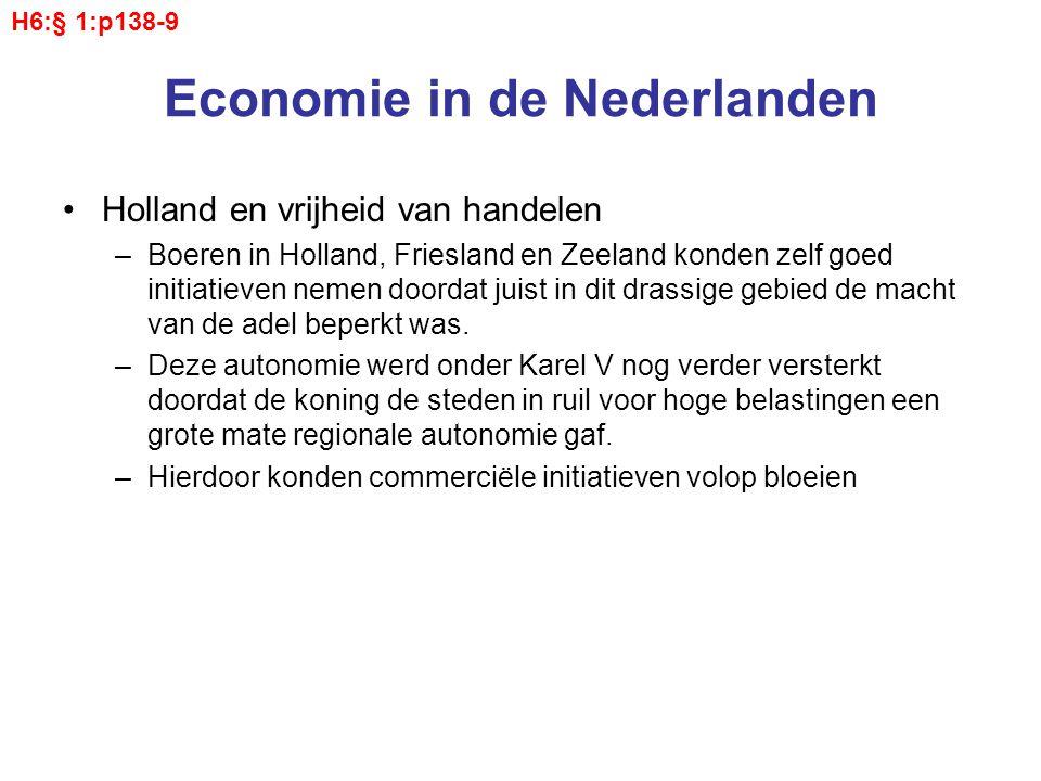 Economie in de Nederlanden Holland en vrijheid van handelen –Boeren in Holland, Friesland en Zeeland konden zelf goed initiatieven nemen doordat juist