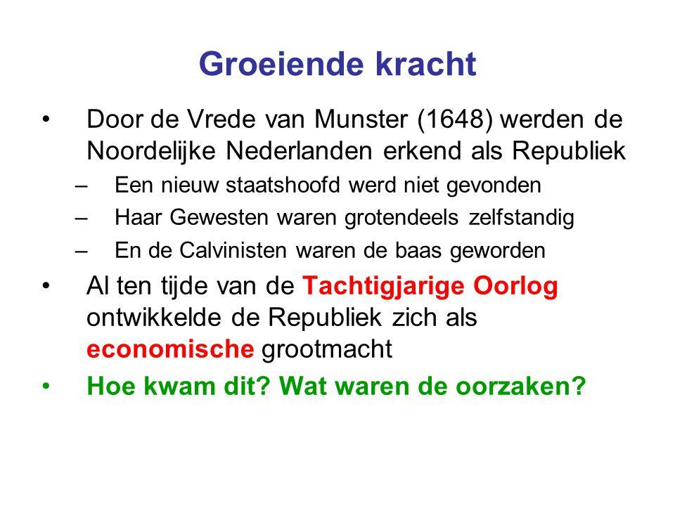 Groeiende kracht Door de Vrede van Munster (1648) werden de Noordelijke Nederlanden erkend als Republiek –Een nieuw staatshoofd werd niet gevonden –Ha