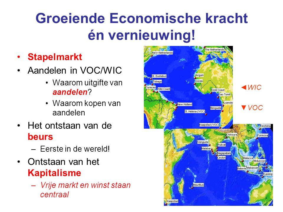 Groeiende Economische kracht én vernieuwing! Stapelmarkt Aandelen in VOC/WIC Waarom uitgifte van aandelen? Waarom kopen van aandelen Het ontstaan van