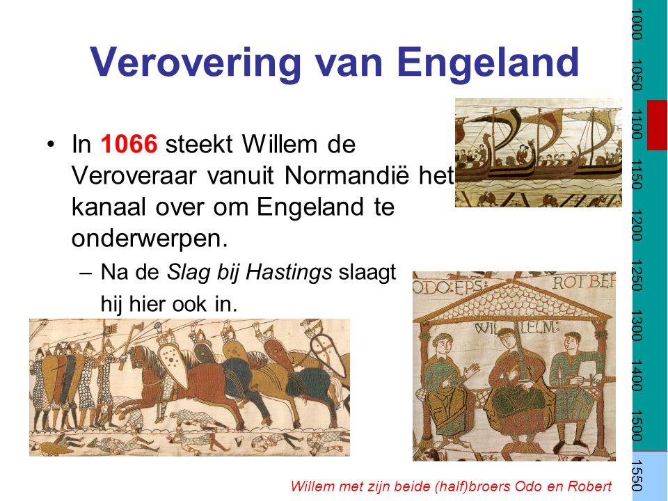 Verovering van Engeland Willem met zijn beide (half)broers Odo en Robert In 1066 steekt Willem de Veroveraar vanuit Normandië het kanaal over om Engel