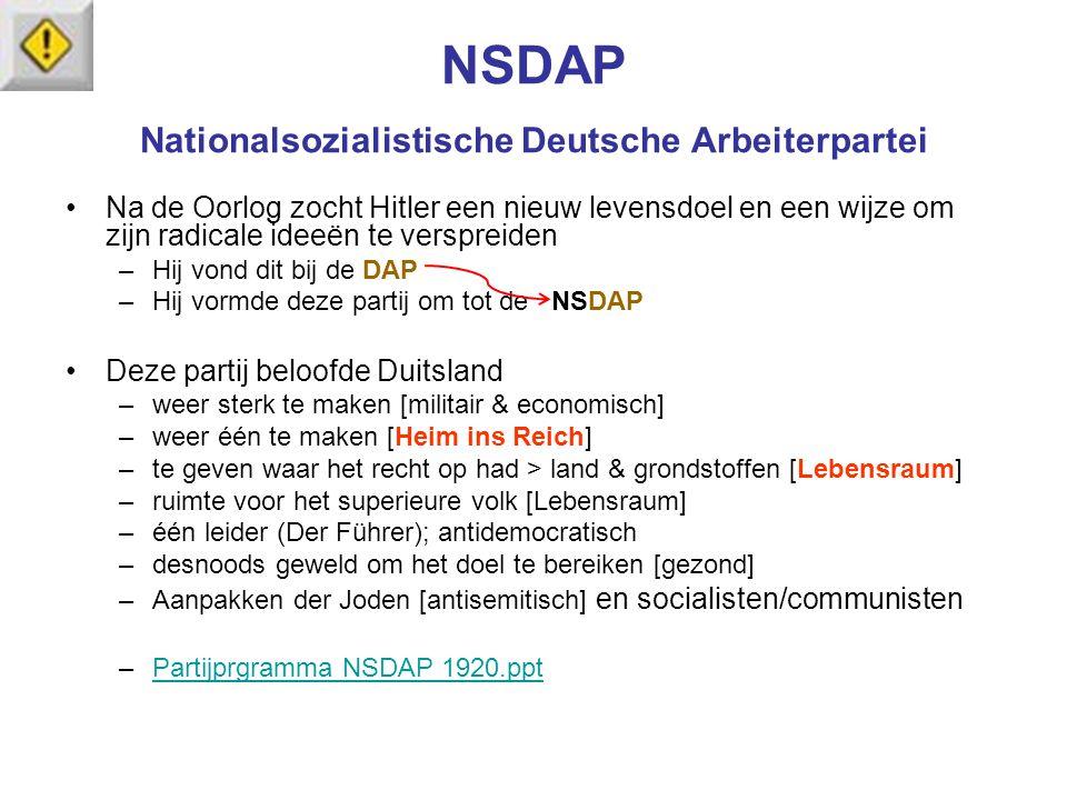 NSDAP Nationalsozialistische Deutsche Arbeiterpartei Na de Oorlog zocht Hitler een nieuw levensdoel en een wijze om zijn radicale ideeën te verspreide