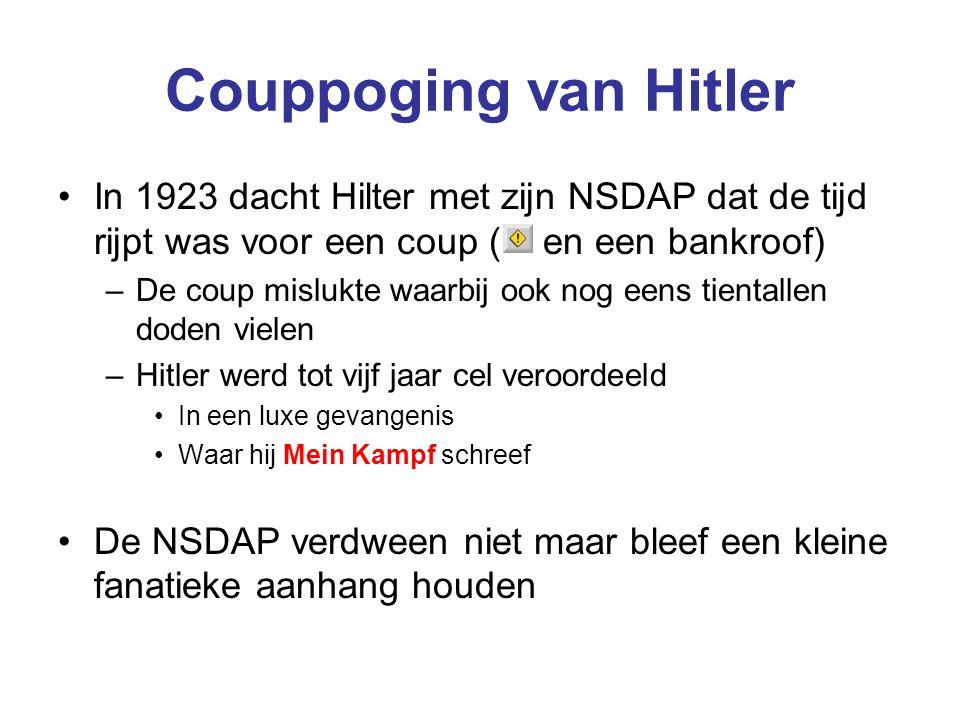 Couppoging van Hitler In 1923 dacht Hilter met zijn NSDAP dat de tijd rijpt was voor een coup ( en een bankroof) –De coup mislukte waarbij ook nog een
