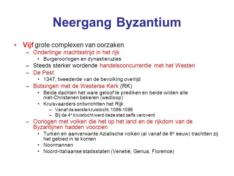 Neergang Byzantium Vijf grote complexen van oorzaken –Onderlinge machtsstrijd in het rijk Burgeroorlogen en dynastieruzies –Steeds sterker wordende ha