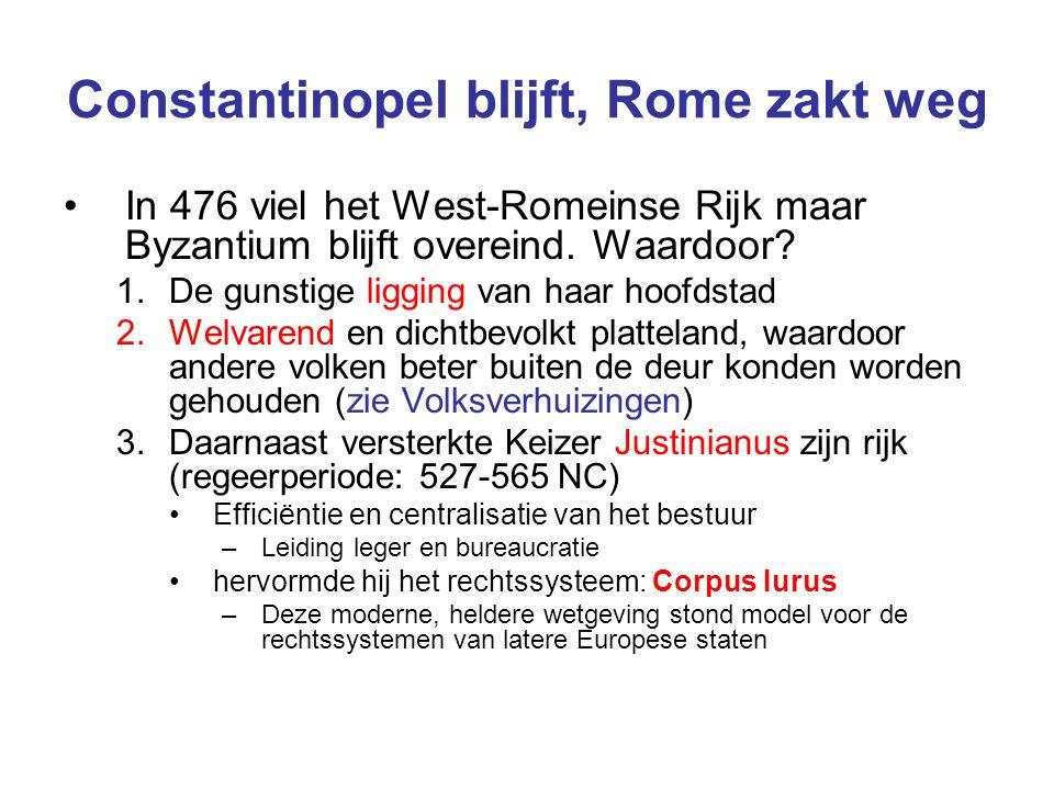 Constantinopel blijft, Rome zakt weg In 476 viel het West-Romeinse Rijk maar Byzantium blijft overeind. Waardoor? 1.De gunstige ligging van haar hoofd