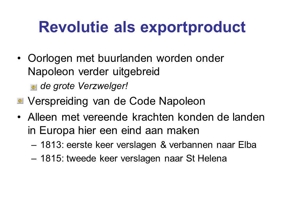 Revolutie als exportproduct Oorlogen met buurlanden worden onder Napoleon verder uitgebreid –de grote Verzwelger! Verspreiding van de Code Napoleon Al