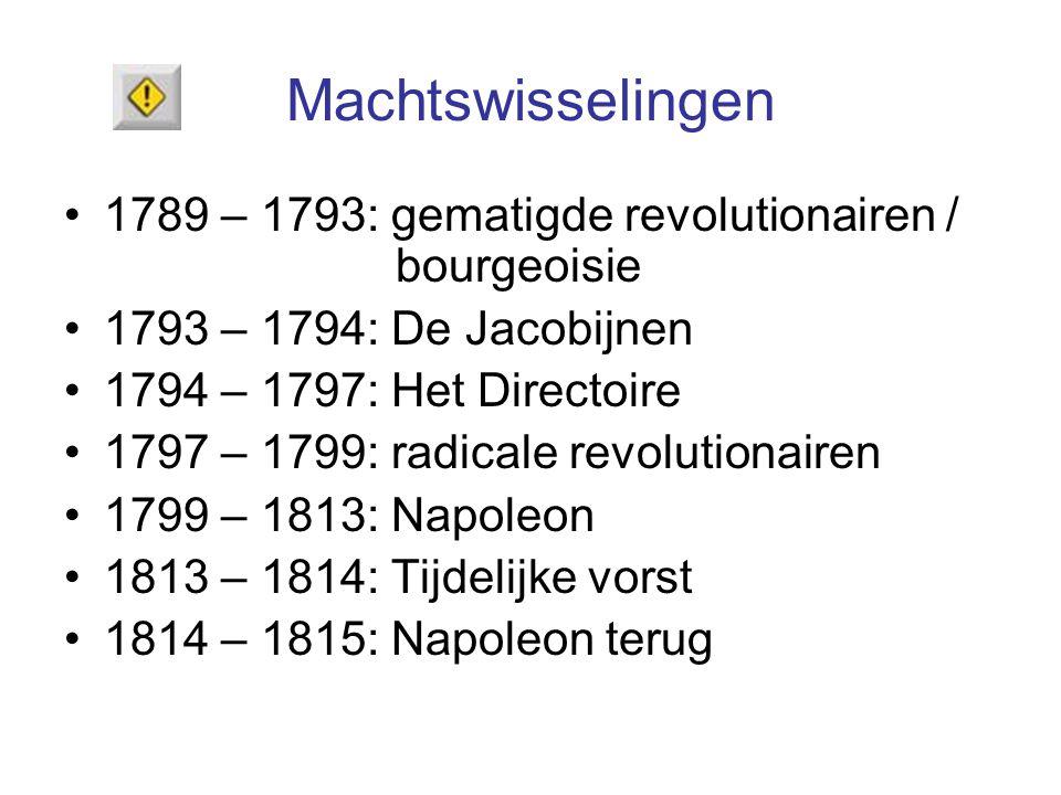 Machtswisselingen 1789 – 1793: gematigde revolutionairen / bourgeoisie 1793 – 1794: De Jacobijnen 1794 – 1797: Het Directoire 1797 – 1799: radicale re