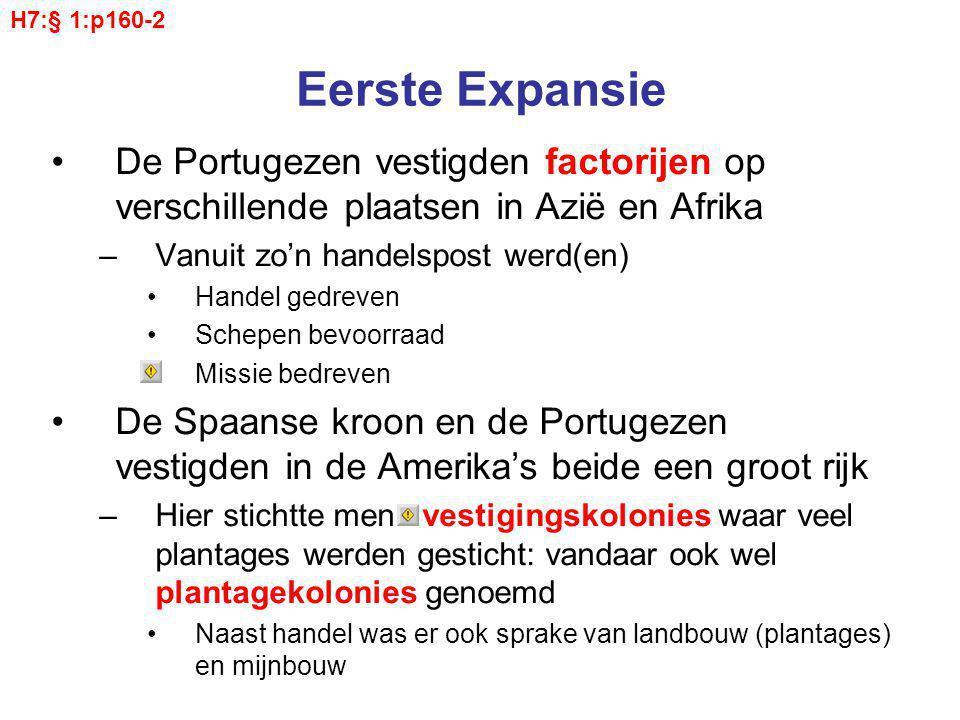 Eerste Expansie De Portugezen vestigden factorijen op verschillende plaatsen in Azië en Afrika –Vanuit zo'n handelspost werd(en) Handel gedreven Schep