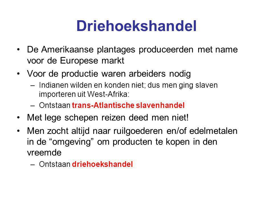 Driehoekshandel De Amerikaanse plantages produceerden met name voor de Europese markt Voor de productie waren arbeiders nodig –Indianen wilden en kond