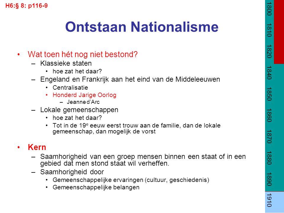 Ontstaan Nationalisme Wat toen hét nog niet bestond? –Klassieke staten hoe zat het daar? –Engeland en Frankrijk aan het eind van de Middeleeuwen Centr