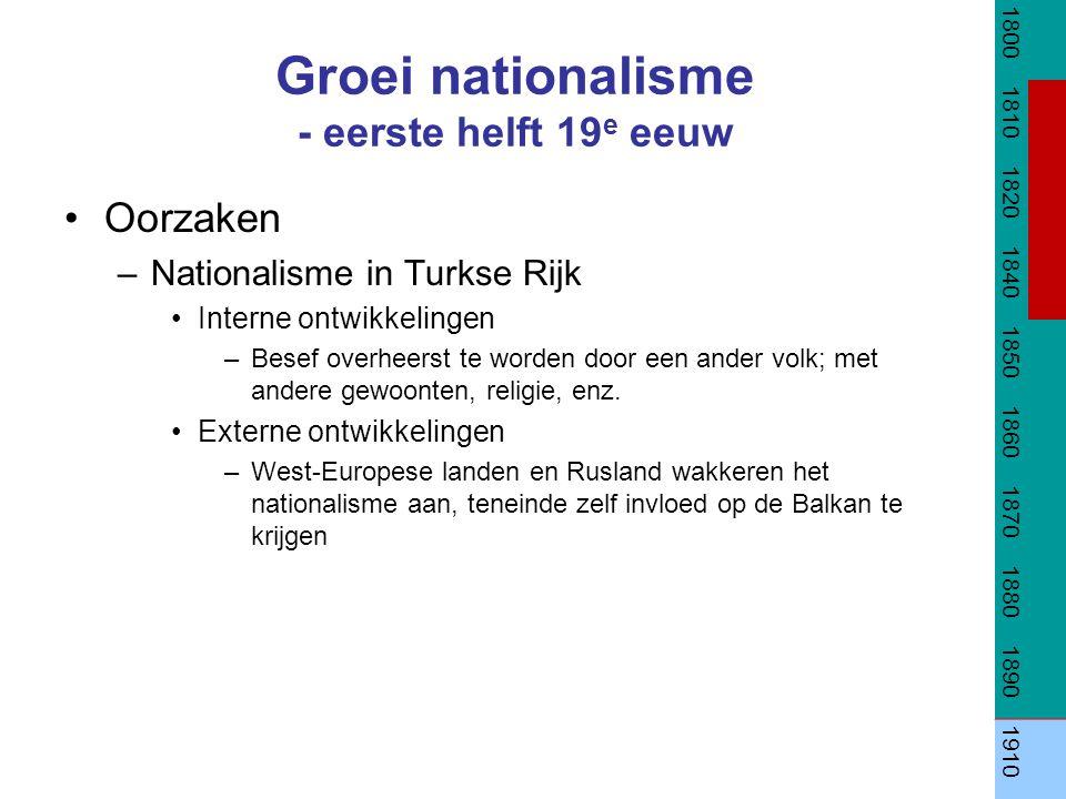 Groei nationalisme - eerste helft 19 e eeuw Oorzaken –Nationalisme in Turkse Rijk Interne ontwikkelingen –Besef overheerst te worden door een ander vo