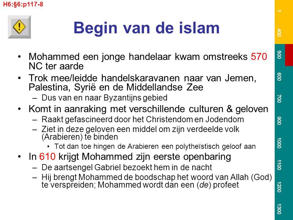 Begin van de islam Mohammed een jonge handelaar kwam omstreeks 570 NC ter aarde Trok mee/leidde handelskaravanen naar van Jemen, Palestina, Syrië en d
