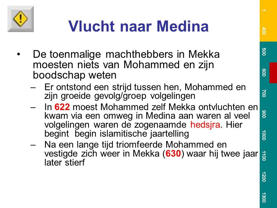 Verspreiding van de islam Na de dood van Mohammed zien we een snelle verovering van gebieden –Oorzaken (1) kracht van het woestijnleger (2) welkom zijn van de legers in veel steden (Byzantijnen en Persen stonden er niet goed op) (3) populariteit van het geloof (weerbaarheid / gelijkheid) (4) normale behandeling Joden en Christenen Tot staan gebracht uiteindelijk in Poitier (732); midden in het Frankische Rijk Tot tweemaal toe trachtten de Arabieren Constantinopel te veroveren, maar dat mislukt 1 400 500 600 700 900 1000 1100 1200 1300