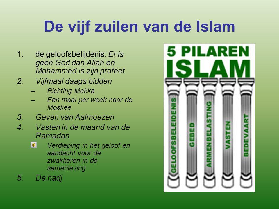 De vijf zuilen van de Islam 1.de geloofsbelijdenis: Er is geen God dan Allah en Mohammed is zijn profeet 2.Vijfmaal daags bidden –Richting Mekka –Een