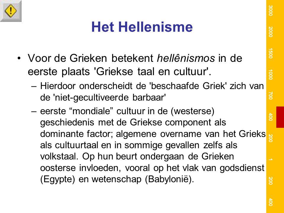 Het Hellenisme Voor de Grieken betekent hellênismos in de eerste plaats 'Griekse taal en cultuur'. –Hierdoor onderscheidt de 'beschaafde Griek' zich v