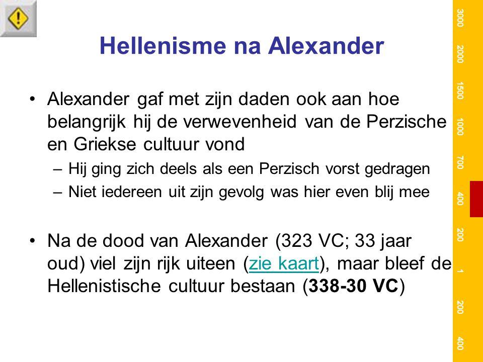 Hellenisme na Alexander Alexander gaf met zijn daden ook aan hoe belangrijk hij de verwevenheid van de Perzische en Griekse cultuur vond –Hij ging zic
