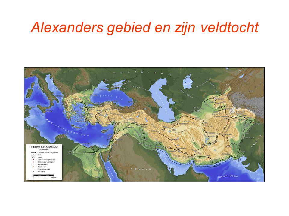 Uiteenvallen van Alexanders rijk Rode lijn: grenzen rijk van Alexander de Grote Groene gebied: het rijk van Ptolemaeëus Gele gebied: het rijk van Seleukos Paarse gebied: het rijk van Lysimachos Roze gebied: het rijk van Kassandros