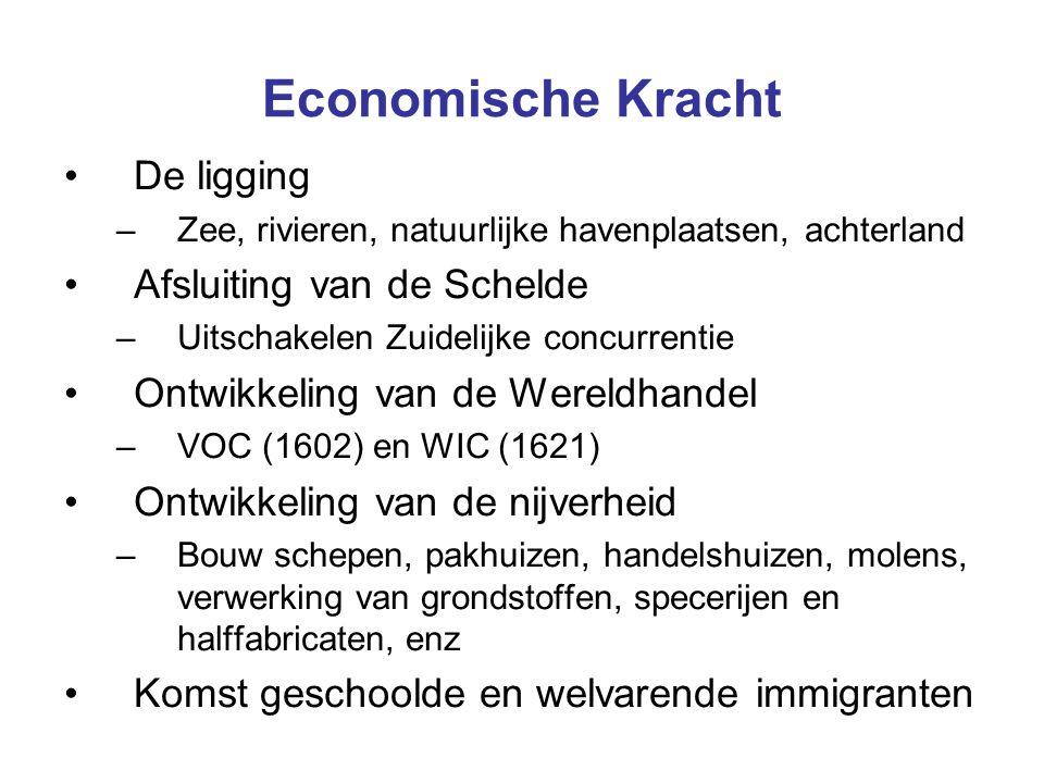 Economische Kracht De ligging –Zee, rivieren, natuurlijke havenplaatsen, achterland Afsluiting van de Schelde –Uitschakelen Zuidelijke concurrentie On