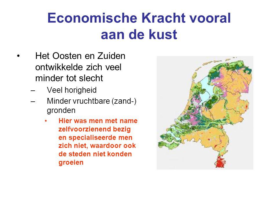 Economische Kracht vooral aan de kust Het Oosten en Zuiden ontwikkelde zich veel minder tot slecht –Veel horigheid –Minder vruchtbare (zand-) gronden