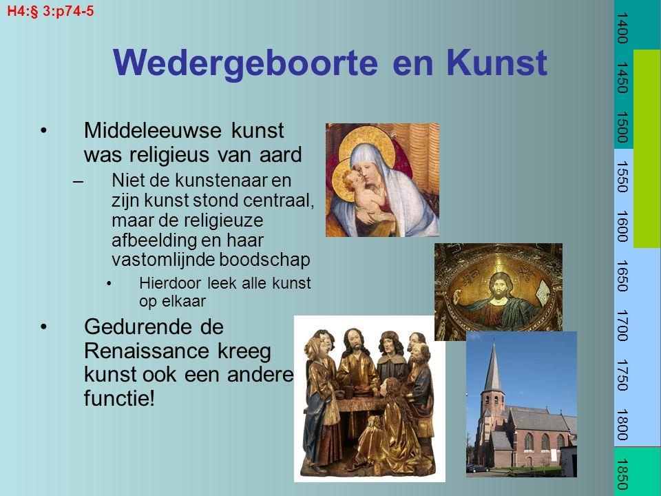 Wedergeboorte en Kunst Middeleeuwse kunst was religieus van aard –Niet de kunstenaar en zijn kunst stond centraal, maar de religieuze afbeelding en ha
