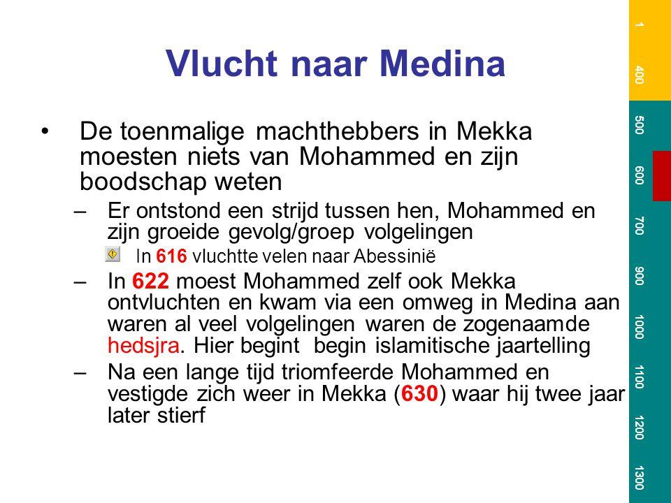 Vlucht naar Medina De toenmalige machthebbers in Mekka moesten niets van Mohammed en zijn boodschap weten –Er ontstond een strijd tussen hen, Mohammed en zijn groeide gevolg/groep volgelingen In 616 vluchtte velen naar Abessinië –In 622 moest Mohammed zelf ook Mekka ontvluchten en kwam via een omweg in Medina aan waren al veel volgelingen waren de zogenaamde hedsjra.
