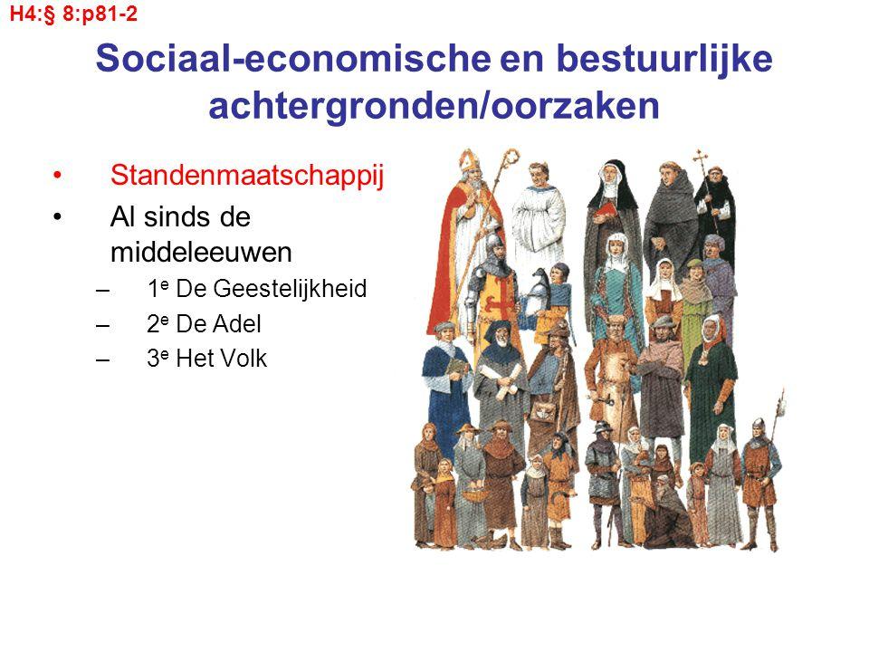 Sociaal-economische en bestuurlijke achtergronden/oorzaken Standenmaatschappij Al sinds de middeleeuwen –1 e De Geestelijkheid –2 e De Adel –3 e Het Volk H4:§ 8:p81-2