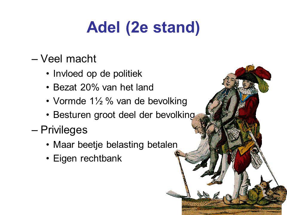 Adel (2e stand) –Veel macht Invloed op de politiek Bezat 20% van het land Vormde 1½ % van de bevolking Besturen groot deel der bevolking –Privileges Maar beetje belasting betalen Eigen rechtbank
