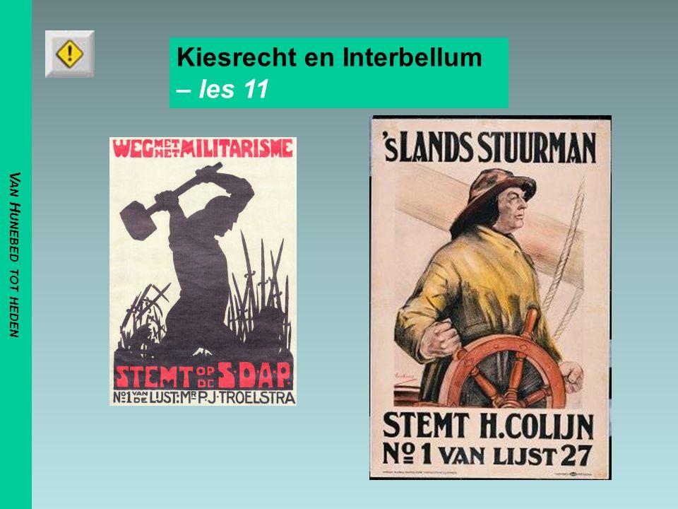 V AN H UNEBED TOT HEDEN Kiesrecht en Interbellum – les 11