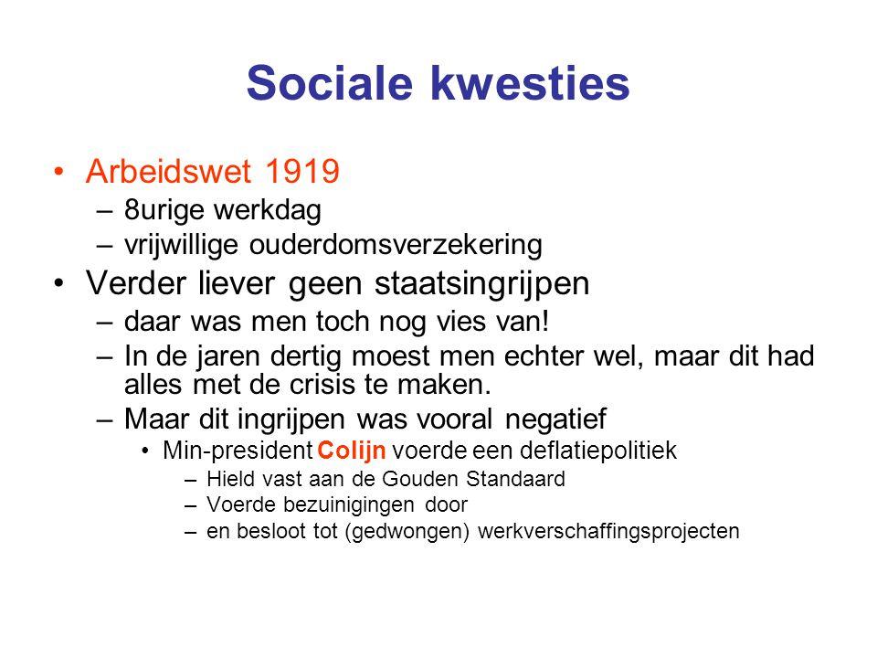 Sociale kwesties Arbeidswet 1919 –8urige werkdag –vrijwillige ouderdomsverzekering Verder liever geen staatsingrijpen –daar was men toch nog vies van.