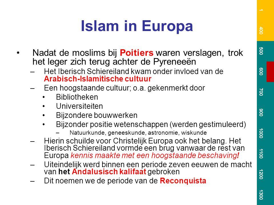 Islam in Europa Nadat de moslims bij Poitiers waren verslagen, trok het leger zich terug achter de Pyreneeën –Het Iberisch Schiereiland kwam onder inv