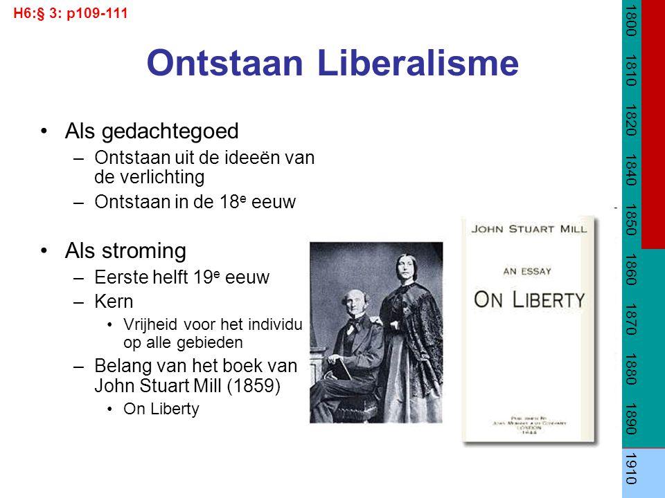Ontstaan Liberalisme Als gedachtegoed –Ontstaan uit de ideeën van de verlichting –Ontstaan in de 18 e eeuw Als stroming –Eerste helft 19 e eeuw –Kern