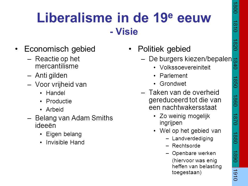 Liberalisme in de 19 e eeuw - Visie Economisch gebied –Reactie op het mercantilisme –Anti gilden –Voor vrijheid van Handel Productie Arbeid –Belang va