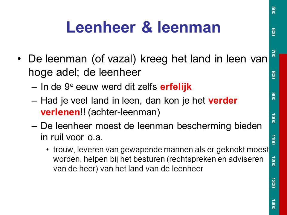 Leenheer & leenman De leenman (of vazal) kreeg het land in leen van hoge adel; de leenheer –In de 9 e eeuw werd dit zelfs erfelijk –Had je veel land i