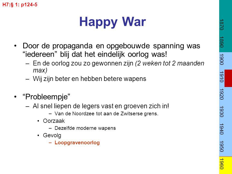 Happy War Door de propaganda en opgebouwde spanning was iedereen blij dat het eindelijk oorlog was.