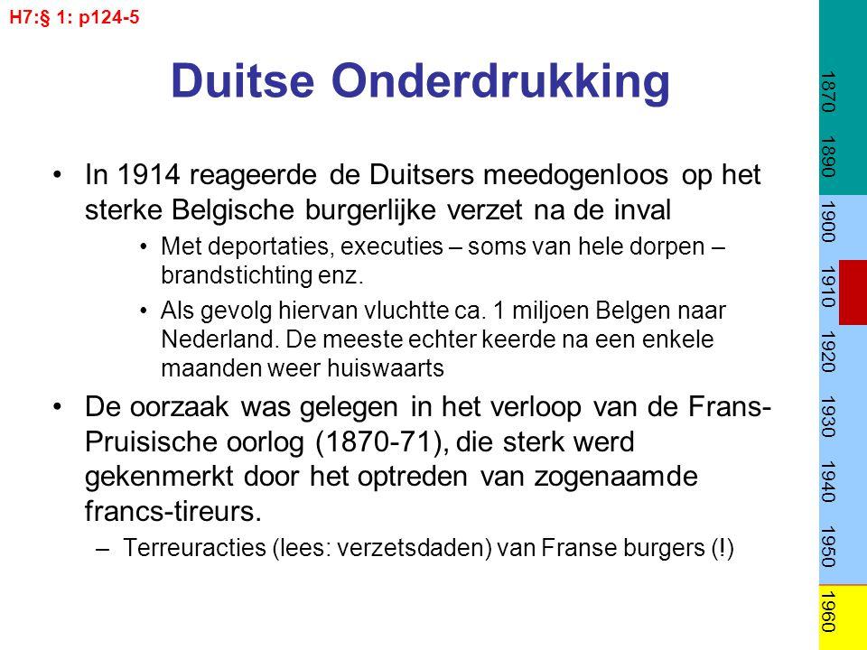Duitse Onderdrukking In 1914 reageerde de Duitsers meedogenloos op het sterke Belgische burgerlijke verzet na de inval Met deportaties, executies – soms van hele dorpen – brandstichting enz.