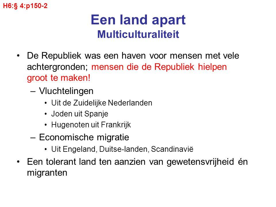 Een land apart Multiculturaliteit De Republiek was een haven voor mensen met vele achtergronden; mensen die de Republiek hielpen groot te maken! –Vluc
