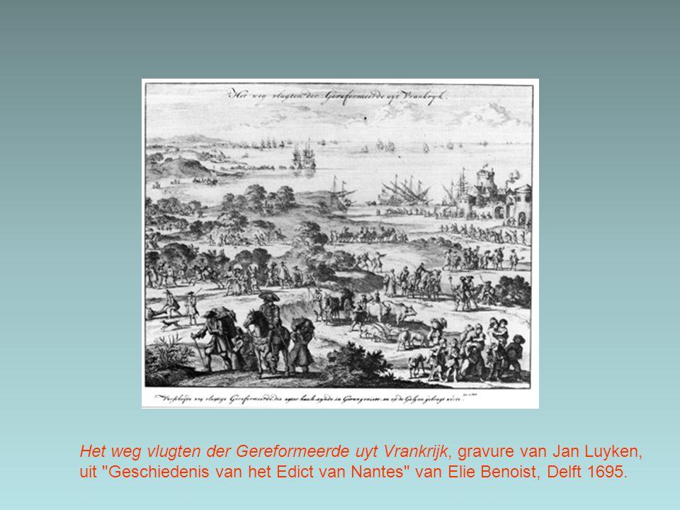 Het weg vlugten der Gereformeerde uyt Vrankrijk, gravure van Jan Luyken, uit