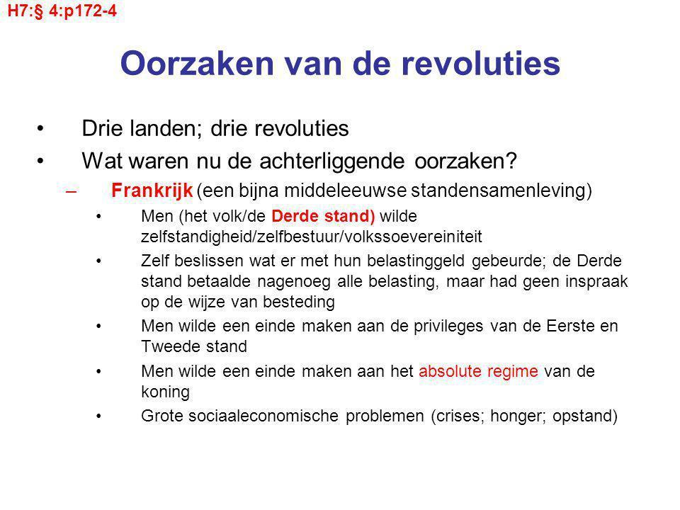 Oorzaken van de revoluties Drie landen; drie revoluties Wat waren nu de achterliggende oorzaken.