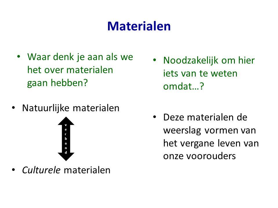 Materialen Waar denk je aan als we het over materialen gaan hebben.