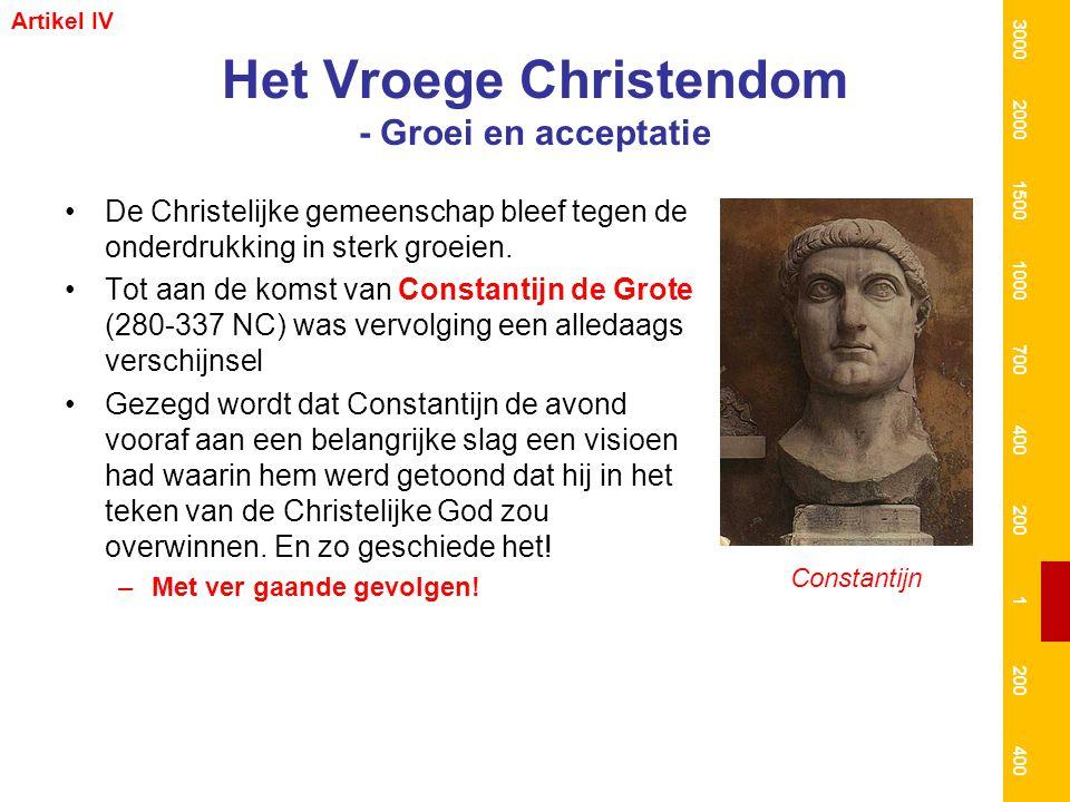 Het Vroege Christendom - Groei en acceptatie De Christelijke gemeenschap bleef tegen de onderdrukking in sterk groeien. Tot aan de komst van Constanti