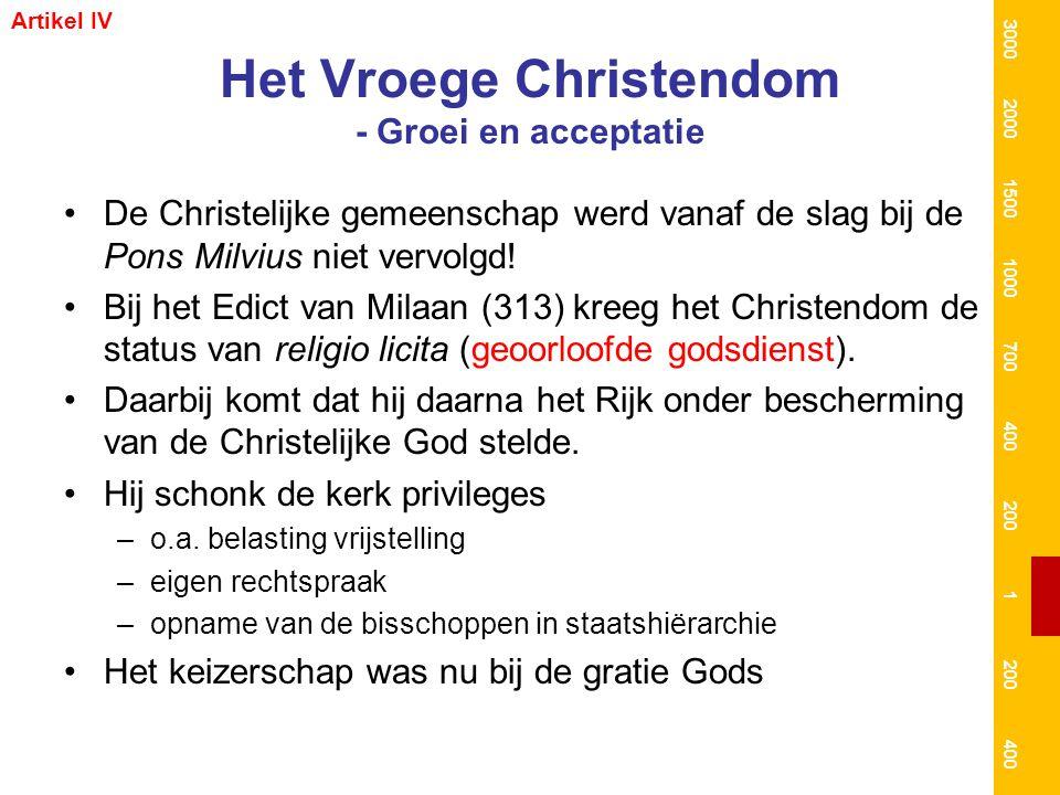 Het Vroege Christendom - Groei en acceptatie De Christelijke gemeenschap werd vanaf de slag bij de Pons Milvius niet vervolgd! Bij het Edict van Milaa