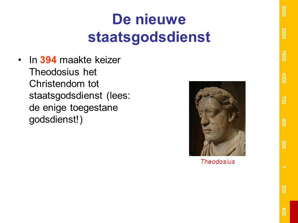 De nieuwe staatsgodsdienst In 394 maakte keizer Theodosius het Christendom tot staatsgodsdienst (lees: de enige toegestane godsdienst!) Theodosius 300