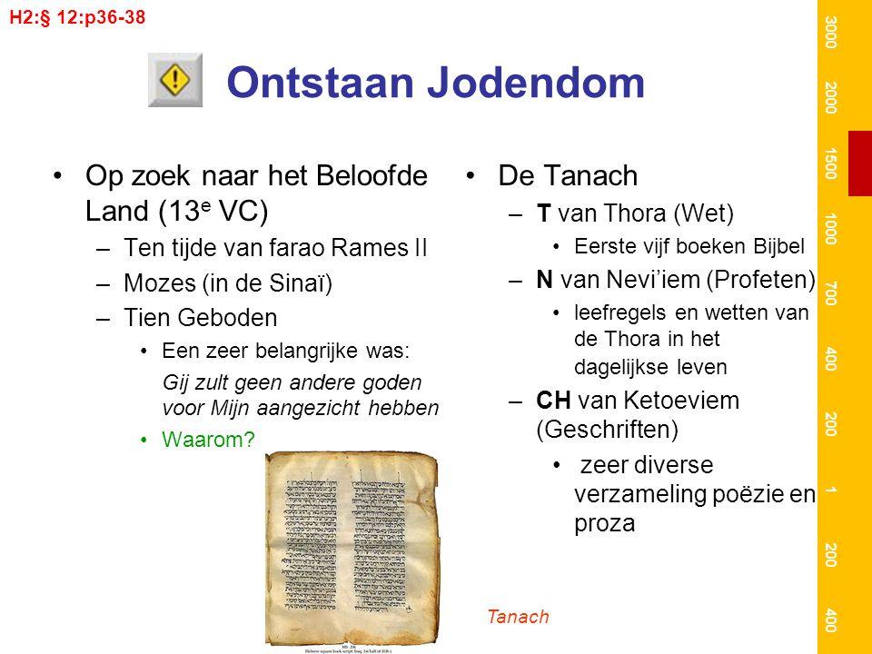 Joodse geschiedenis Een van lange overheersing –Alleen omstreeks 1000 VC vormden de Joodse stammen een (zelfstandig) koninkrijkkoninkrijk Door al die overheersing wachtte men op een verlossing, een messias –Ten tijde van het Romeinse Rijk (63 vc) was dit weer zover –Een aantal mensen zag in Jozua uit Nazareth een messias Deze Jozua vertegenwoordigde een groep gelovigen – de Essenen – die niets wilden weten van de heersende priesterklasse in het land 3000 2000 1500 1000 700 400 200 1 400