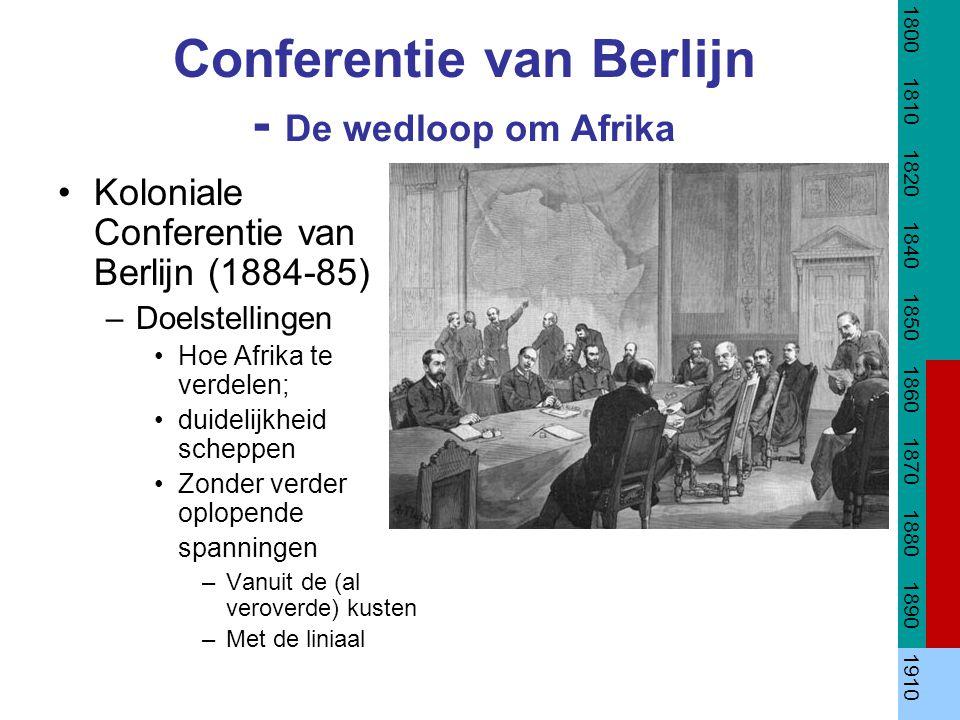 Conferentie van Berlijn - De wedloop om Afrika Koloniale Conferentie van Berlijn (1884-85) –Doelstellingen Hoe Afrika te verdelen; duidelijkheid scheppen Zonder verder oplopende spanningen –Vanuit de (al veroverde) kusten –Met de liniaal 1800 1810 1820 1840 1850 1860 1870 1880 1890 1910