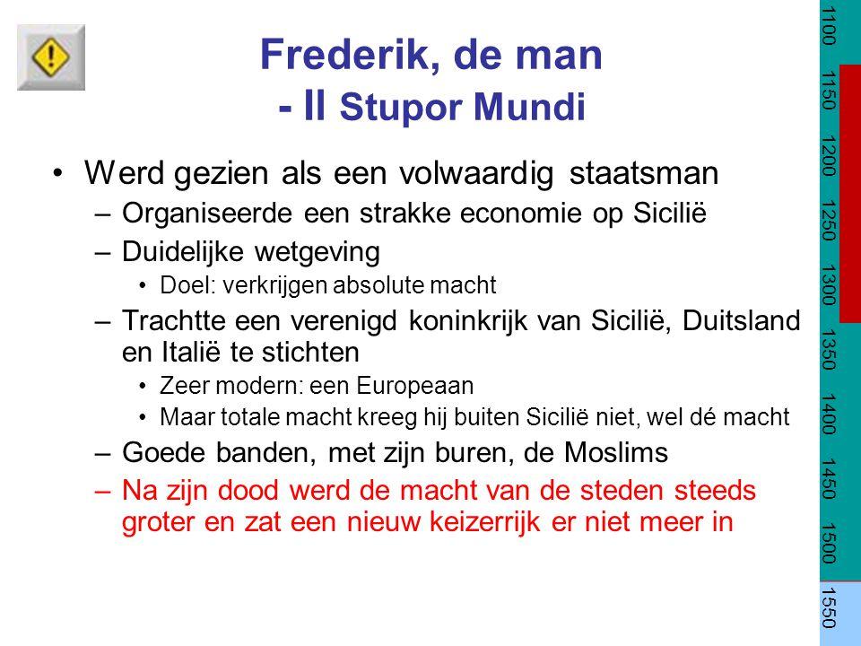Frederik, de man - Il Stupor Mundi Werd gezien als een volwaardig staatsman –Organiseerde een strakke economie op Sicilië –Duidelijke wetgeving Doel: