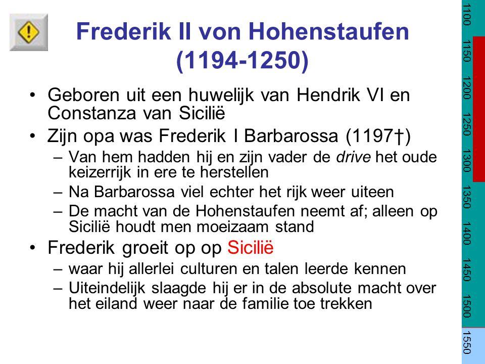Frederik II von Hohenstaufen (1194-1250) Geboren uit een huwelijk van Hendrik VI en Constanza van Sicilië Zijn opa was Frederik I Barbarossa (1197†) –