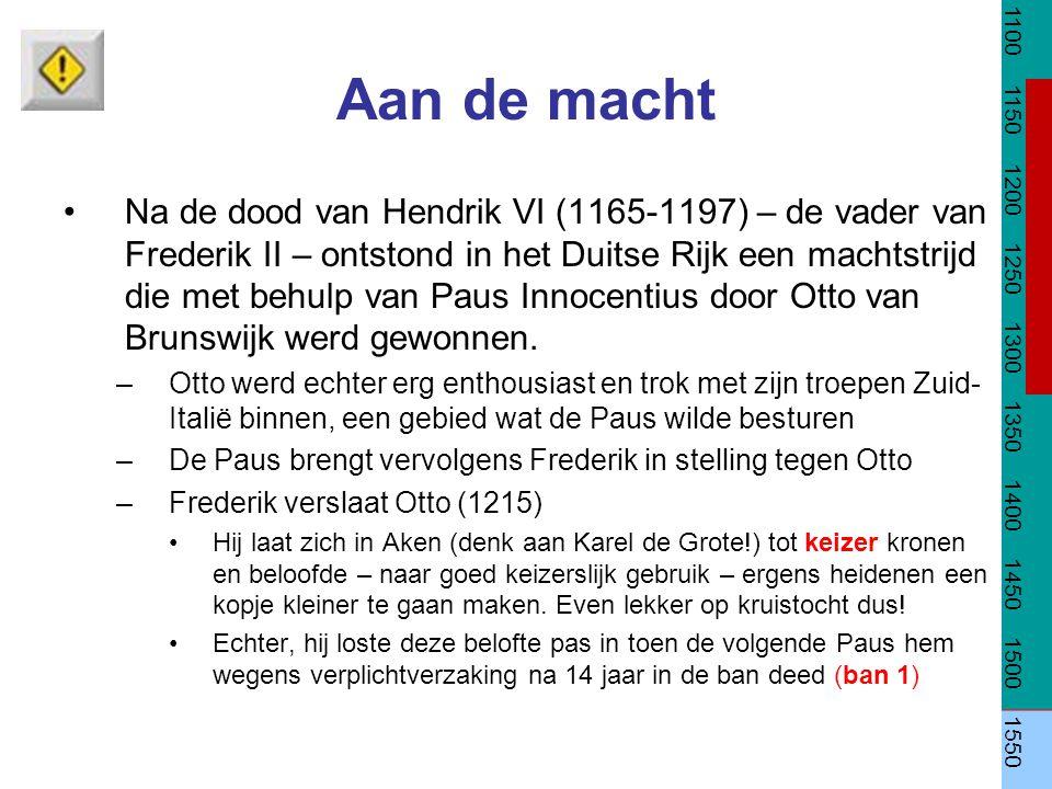 Aan de macht Na de dood van Hendrik VI (1165-1197) – de vader van Frederik II – ontstond in het Duitse Rijk een machtstrijd die met behulp van Paus In